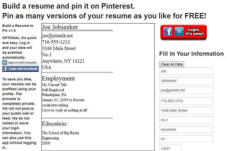 PinRes Pin Your Resume Koko maailmasta ja Ansioluettelo - resume fill in