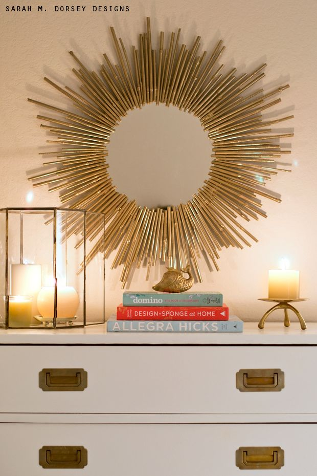 sarah m. dorsey designs: Blogger Stylin' Home Tour | DIY Starburst Mirror
