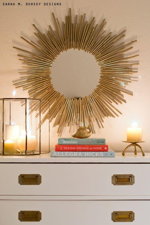 sarah m. dorsey designs: Blogger Stylin' Home Tour | DIY Starburst Mirror