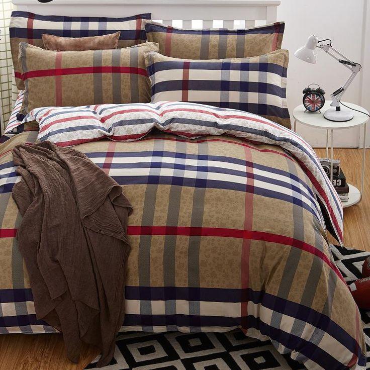 Burberry Plaid 4 Piece Bedding Set Duvet Cover, Reversible
