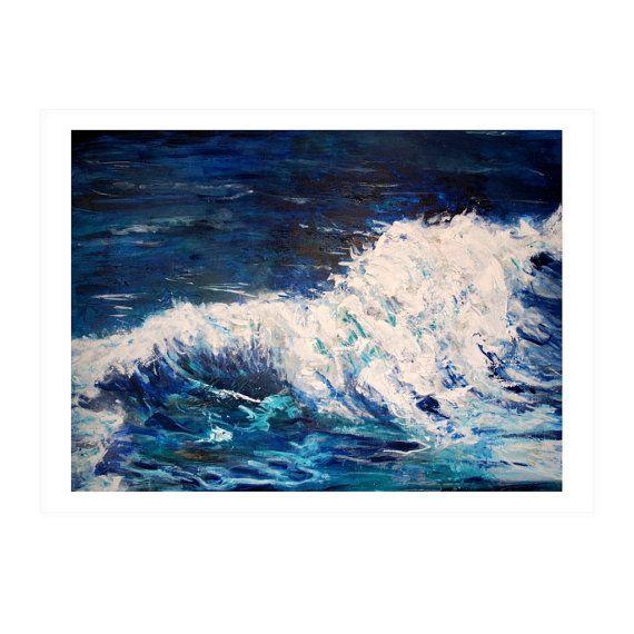 Original Art PAINTING print   'Ocean' Blues by HelenKilsby on Etsy,