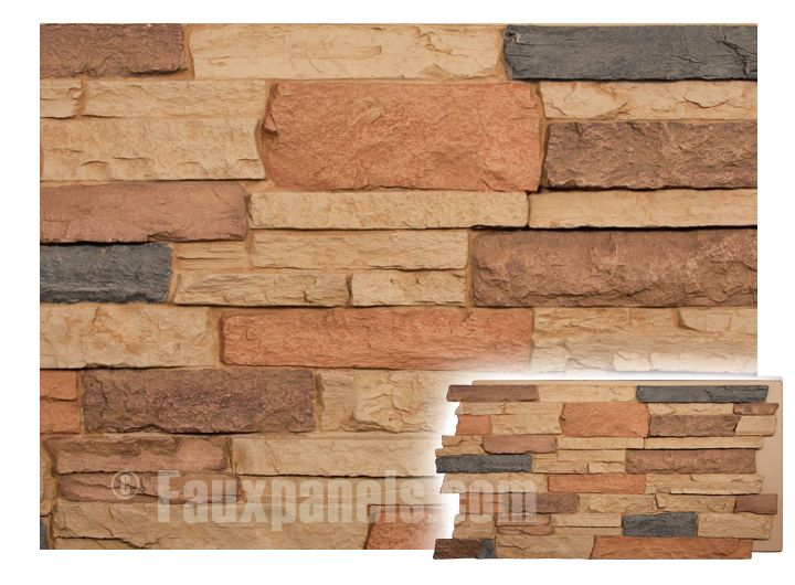 Faux stone wall paneling in warm earth tones that adds instant appeal. Its polyurethane makeup makes it both resilient and easy to install.