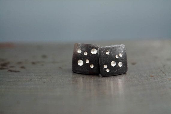Square Stud Earring Small Stud Earrings Black by venusvelvet