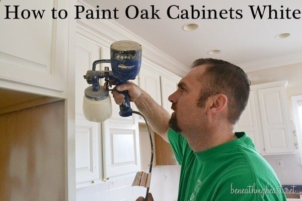 How to paint oak cabinets white painting pinterest for How to paint white cabinets