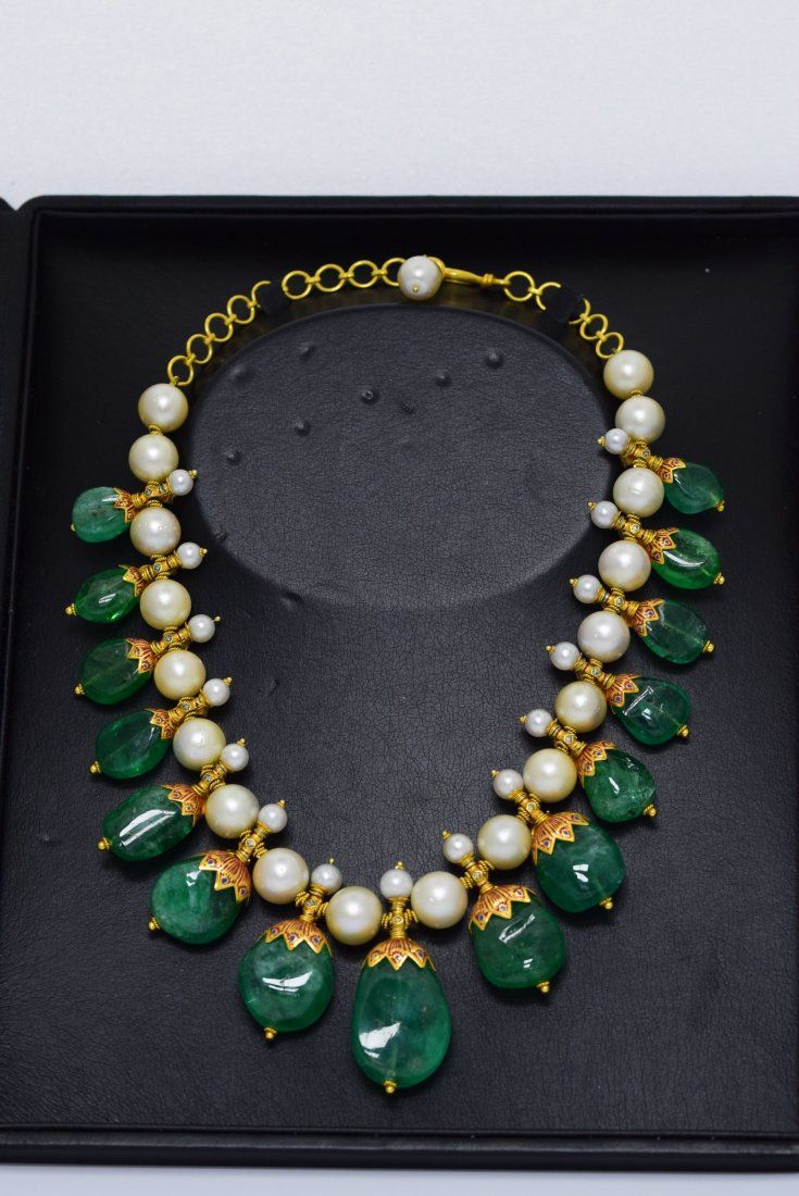 Lot: Gorgeous Indian Colombian Emerald Necklace With Pearls, Lot Number: 0161, Starting Bid: $50,000, Auctioneer: SAJ Auction, Auction: SAJ, Date: September 29th, 2016 IST