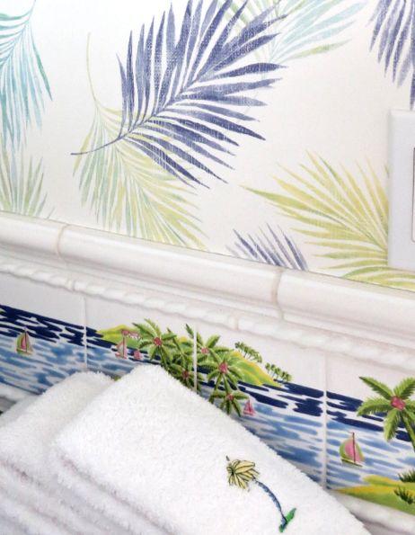 Tropical island bathroom tiles and wallpaper: http://www.completely-coastal.com/2014/10/coastal-pastels.html