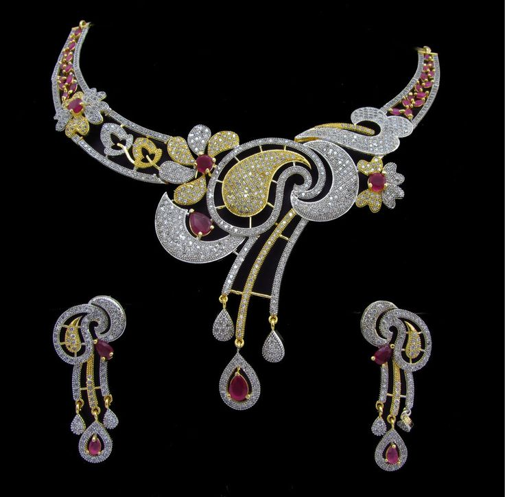 Indian CZ AD Necklace Gold & Silver Two Tone Bollywood Bridal Swam Jewelry 587