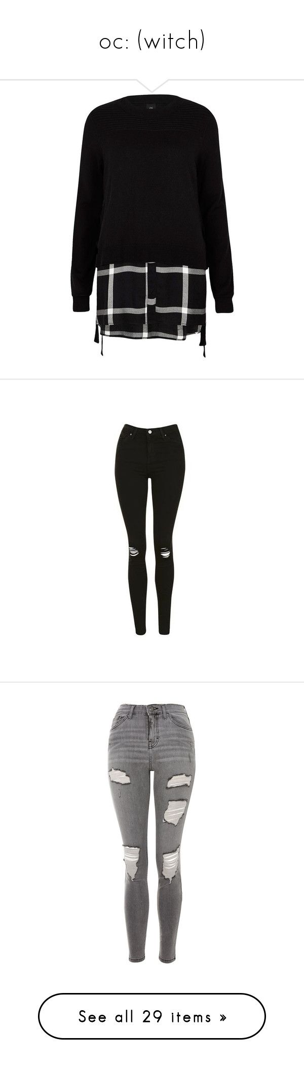 """""""oc: (witch)"""" by what-a-peach on Polyvore featuring tops, black, knitwear, sale, women, knit sweater, crew neck shirt, longline shirt, crew neck long sleeve shirt and crew-neck shirts"""