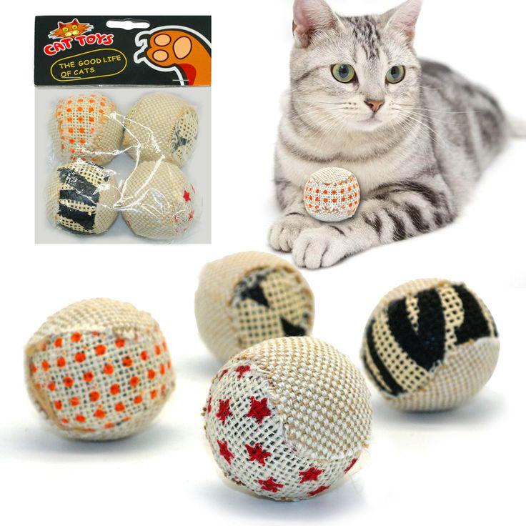 4 pcs/pack Bola Cat Mainan Kucing Mainan Interaktif Bermain Mengunyah Rattle Menangkap Awal Hewan Peliharaan Kucing Kucing Mainan Bola Exrecise