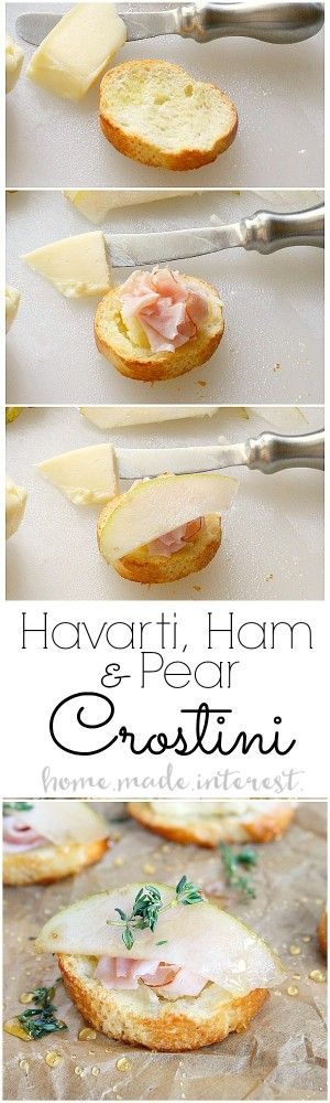 This simple flavor combination makes a delicious appetizer recipe. Havarti cheese, ham, and pear layered on a lightly toasted crostini. It is a perfect appetizer recipe for your next dinner party or New Year's Eve party.