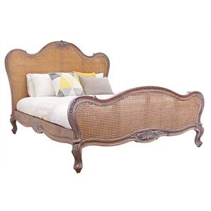 Chester Hand Crafted Solid Mahogany Timber and Rattan Queen Bed -...