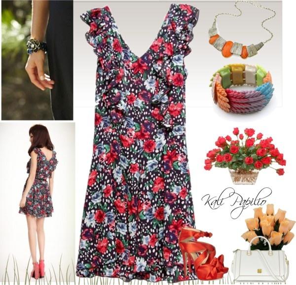 """Women V-Neck Multi-Coloured Mini Dress"" by fashionsara1987 ❤ liked on Polyvore"