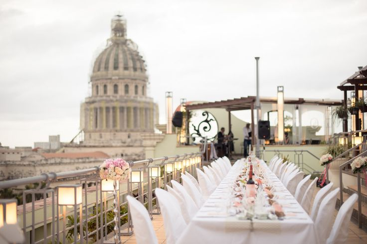 Stunning destination wedding in Cuba. Rooftop wedding reception. Photo By www.mattkennedy.ca