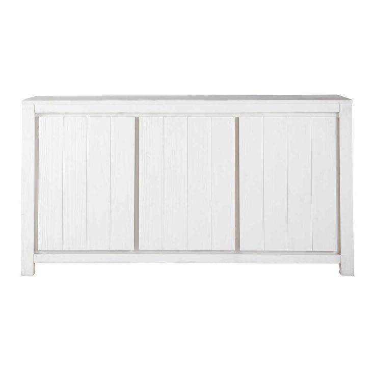 buffet 3 portes blanc white h 85 x l 160 x pr 45 bois. Black Bedroom Furniture Sets. Home Design Ideas