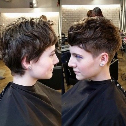 Shaved Pixie Haircut with Curly Hair - Cute Short Hairstyles for Women, Girls