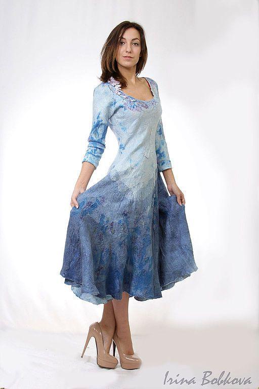Купить Платье нуновойлок Spring Melody - голубой, голубое платье, голубое валяное платье