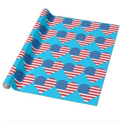Heart USA Flag Turquoise Wrapping Paper - christmas craft supplies cyo merry xmas santa claus family holidays