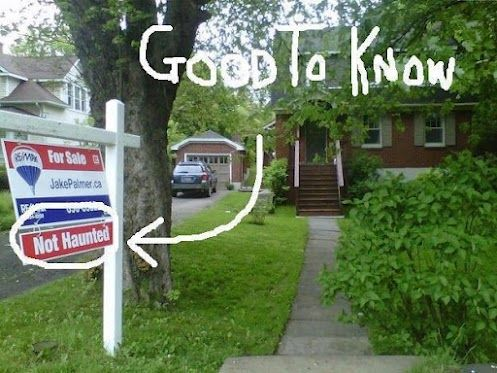 Not hauntedSigns, Laugh, Real Haunted House, Ghosts, First House, Funny Stuff, Hilarious, Real Estate Humor, Giggles