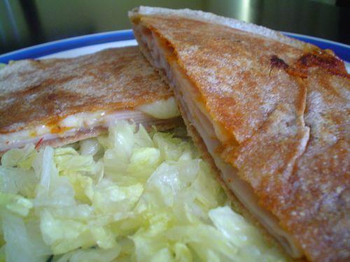Pita Bread Sandwiches Recipe Lunch with pita bread, ham, refried beans, cheese, chipotle salsa