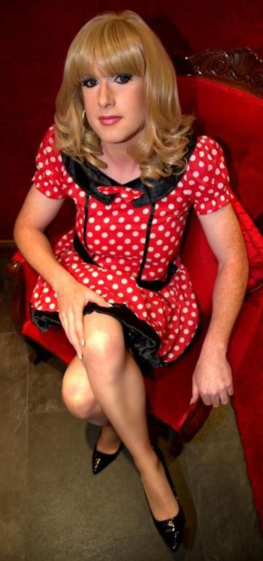 If only more men wore a red polka dot dress, the world would be a better place. #Crossdresser, #Sissy, #Transvestite