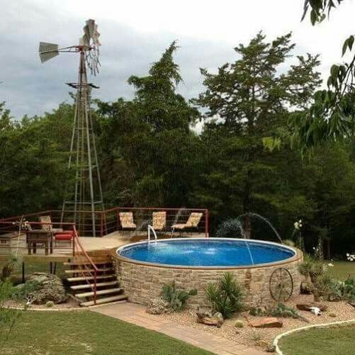 1000 images about semi inground pools on pinterest for Diy backyard pool landscaping