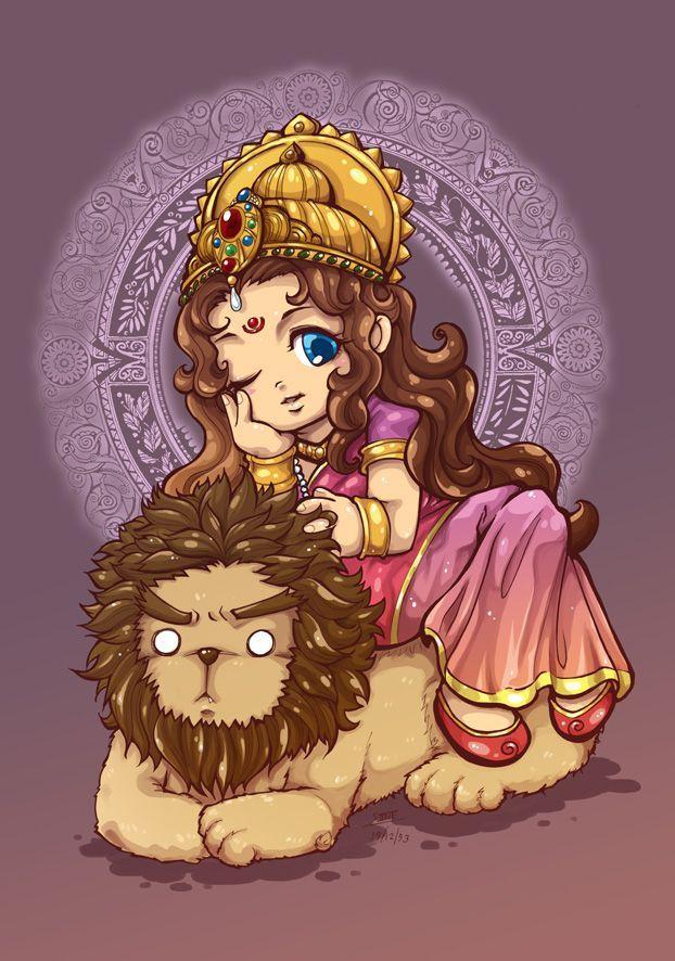Durga chibi version by In-Sine.deviantart.com on @DeviantArt