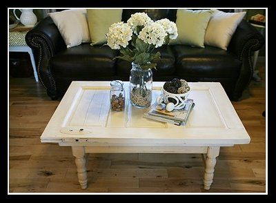 Cute they left the door handle on but painted it white to for Cute coffee tables