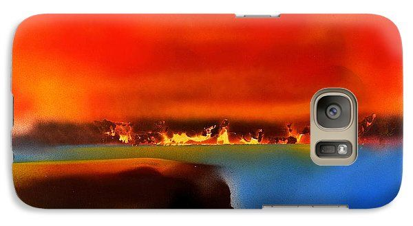 Burning Shore Galaxy S7 Case Printed with Fine Art spray painting image Burning Shore by Nandor Molnar (When you visit the Shop, change the orientation, background color and image size as you wish)