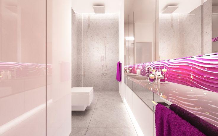 łazienka przy sypialni . monochromatyczna paleta barw została przełamana amarantowymi dodatkami