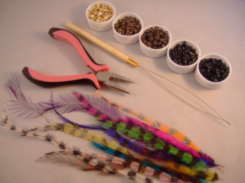 12 Feathers Hair Extension KIT Threader Pliers 50 Beads by FashinToday 12 Feather Extension Kit. $29.95. 1 Hair crimp piers. 1 Hair Threader. 50 Mixed Color Micro Ling Beads. 12 Roster Feathers. Complete Grizzly Hair Feather Extension KIT KIT INCLUDES: 12 Grizzly natural feathers that are 5 to 9 inches long. Can be treated exactly like your own hair Wash - Blow Dry - Brush - Curl - Flat Iron. 1 Hair threader with bamboo handle. 1 Pair of hair pliers with pink and...