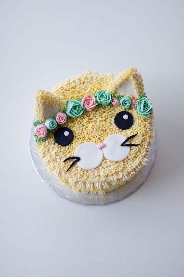 Astounding Flower Crown Cat Cake Cat Cake Birthday Cake For Cat Birthday Funny Birthday Cards Online Overcheapnameinfo