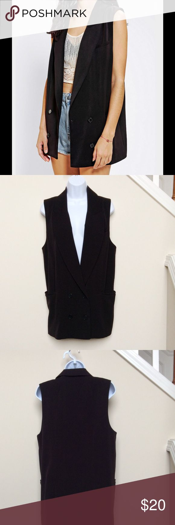 Silence and Noise Sleeveless Black Blazer, NWT! Sleek and classy black sleeveless blazer from Silence + Noise (Urban Outfitters brand).  Blazer is NWT and is a size S, however it is oversized and could likely easily fit a Medium.  Button closure (comes with replacement button); lined. Urban Outfitters Jackets & Coats Blazers