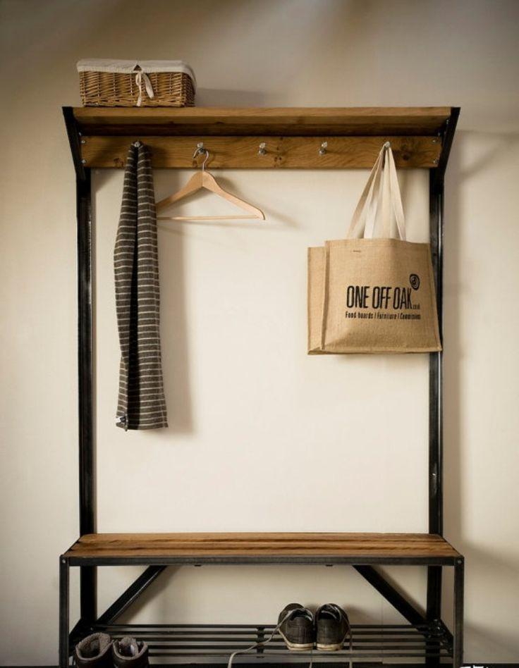 Oak And Steel Coat Rack Bench Kitchen Remodel Pinterest Coat Rack Bench And Coat Racks