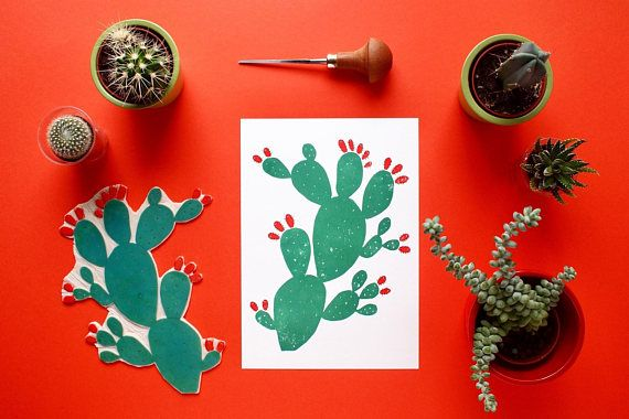 Cacti With Red Figs Handprint Limited Edition 150