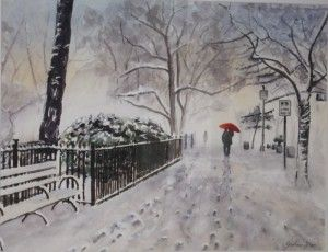 Sold commission watercolour painting by Graham Ibson http://artdiscoveredonline.co.uk/art-gallery/fairytale-in-new-york-snow/