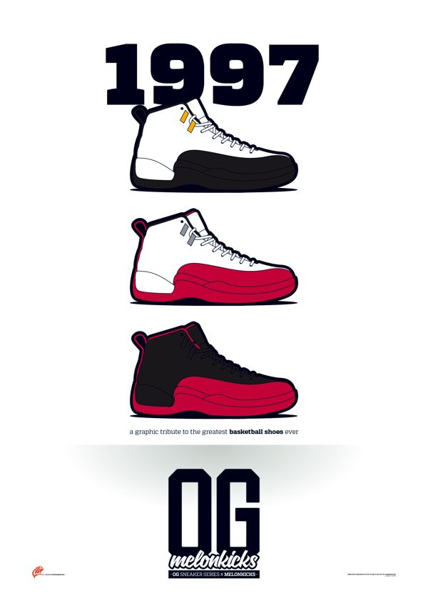 A graphic tribute to the greatest basketball shoes ever, vector  illustrations.