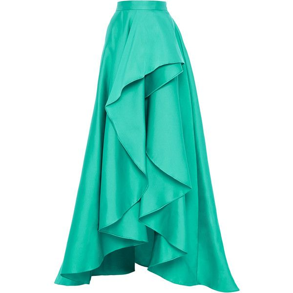 Monique Lhuillier Cascade Front Evening Skirt ($3,295) ❤ liked on Polyvore featuring skirts, long skirts, maxi skirts, bottoms, full length skirt, green asymmetrical skirt, evening skirts, draped skirt y green skirt