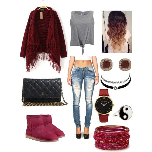 001 - Chillin' In Maroon☺️ by shaydaniels547 on Polyvore featuring polyvore, fashion, style, Vero Moda, UGG Australia, Chanel, Larsson & Jennings, Accessorize, Forever 21 and Charlotte Russe