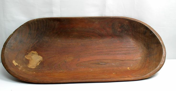 Large Old Hand Carved Primitive Wood Trough Dough Bowl Long Oval 25x12