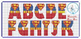 Dinha Ponto Cruz: Super Homem gráfico e monograma em ponto cruz grátis