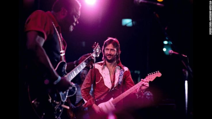 Clapton and Blues legend Freddie King perform together. King signed on to Clapton's RSO record label in 1974 and released three albums before his death in 1976.  Taken by Pattie Boyd.