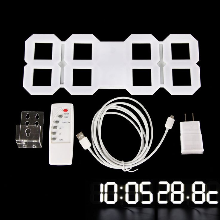 Large Modern Digital Led Skeleton Wall Clock Timer 24/12 Hour Display 3D White #Unbranded