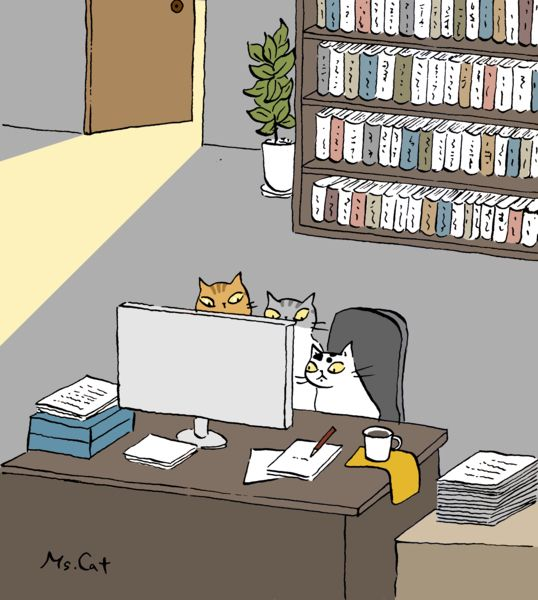 聚精會神,到底在看什麼?當駭客?看鬼片?還是.................. Illustration by Ms. Cat 貓小姐的光陰筆記 - udn部落格