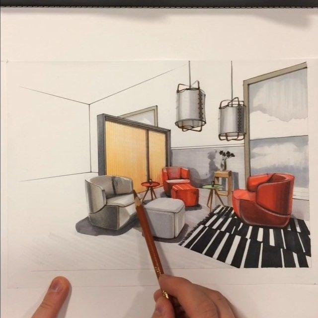Интерьерный #sketch с применением маркеров #copic ✏️✒️ и акварельных карандашей. #RolfBenz #кресло384