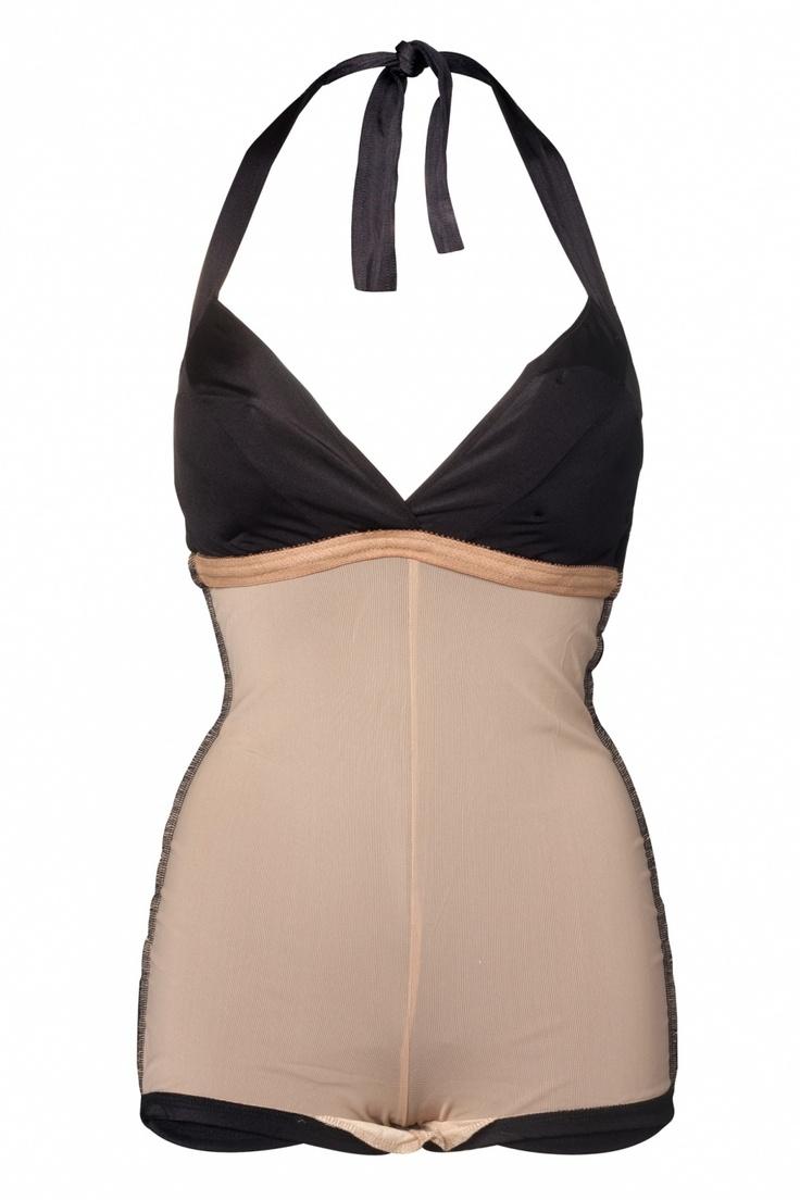 """De """"Bombshell"""" is een vintage inspired badpak uitgevoerd in topkwaliteit mat-glanzende swimtech stevige stretchstof."""