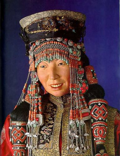 Mongolian woman's traditional costume. | Mongolian costumed mannequin in the National Museum, Copenhagen, Denmark. Danish ethnographer Henning Haslund-Christensen collected these artefacts in 1936-37 during his visit to Mongolia on behalf of the National Museum of Denmark. | ©Miguel C, via Flickr