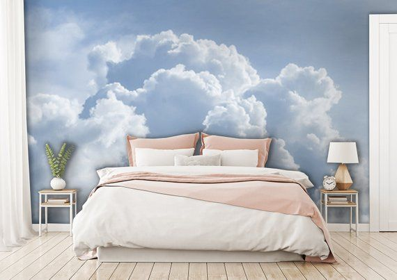 Blue Sky With Clouds Wallpaper Self Adhesive Heaven Mural Temporary Wallpaper Wall Art Cloud Decor Removable Peel And Stick Wallpaper Cloud Wallpaper Bedroom Cloud Wallpaper Dark Interiors Bedroom background wall decal