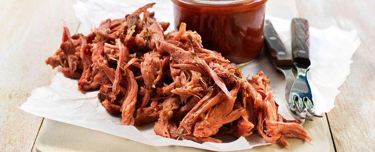 Pulled pork med sennep og barbequesaus