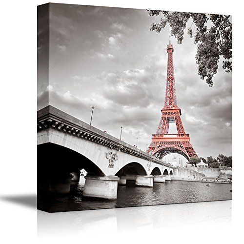 Modern, Black And White Photographic, Paris Wall Art With Pink Eiffel Tower!