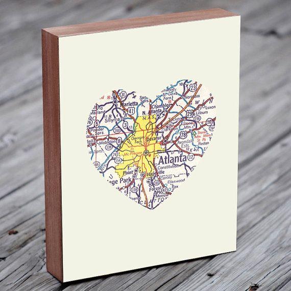 Atlanta Art City Heart Map - Wood Block Art Print